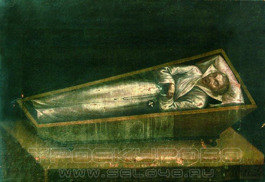 Прп. Иларион Троекуровский в гробу. 1853 г. (Егорьевский историко-художественный музей)